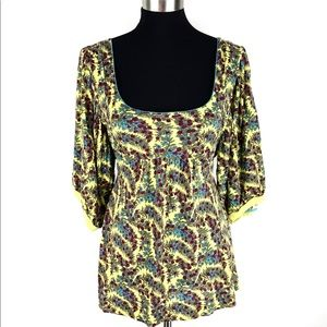 Free People Yellow Floral Scoop Neck Babydoll Med
